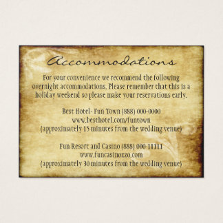 Country Wedding Rustic Insert Accommodation Cards