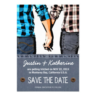 Country Wedding Save The Date Couple Holding Hands Personalized Announcement