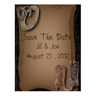 Country Wedding Save The Date Invite on Tan Postcard
