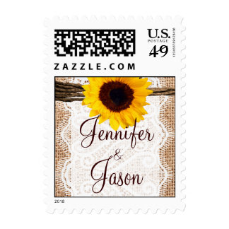 Country Wedding Stamps Sunflower Burlap Lace