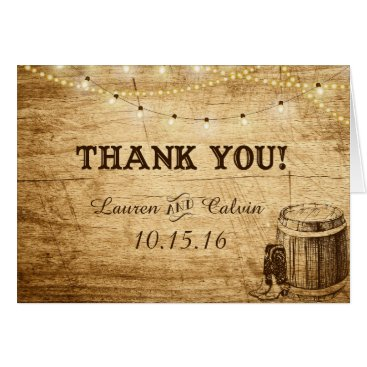 langdesignshop Country Wedding Thank You Card for Rustic Wedding