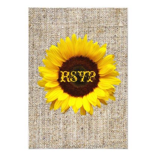 country wedding yellow Sunflower burlap RSVP card Invitations