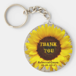 country wedding yellow Sunflower burlap thanyou Basic Round Button Keychain