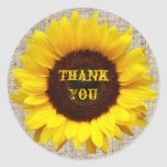 country wedding yellow Sunflower thank you sticker