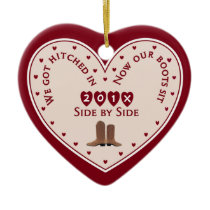 Country Western 1st Christmas Married Gift Ceramic Ornament