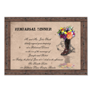 Country Western Babed Wire Wedding Rehearsal Card