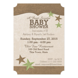 Country Western Baby Shower 5x7 Paper Invitation Card