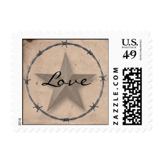 Country Western Barbed Wire Love Postage Stamp