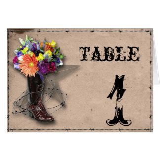 Country Western Barbed Wire Table Number Cards