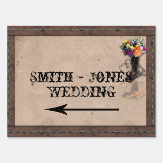 Country Western Barbed Wire Wedding Direction Sign