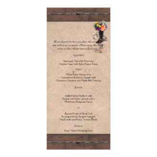 Country Western Barbed Wire Wedding Menu