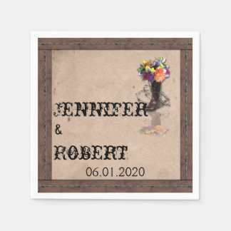Country Western Barbed Wire Wedding Napkin