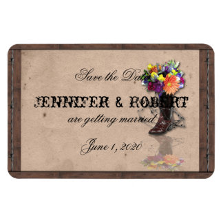 Country Western Barbed Wire Wedding Save the Date Rectangular Photo Magnet