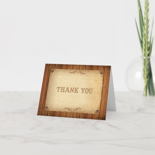 Country Western Barn Wood Thank You Cards Zazzle Com