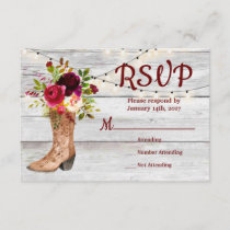 Country Western Boot Boho Rustic Marsala RSVP