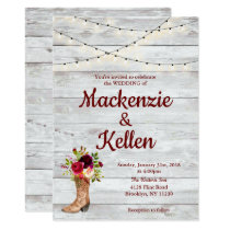 Country Western Boot Boho Rustic Marsala Wedding Invitation