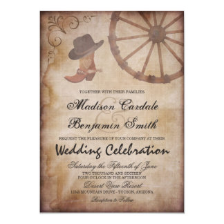Country Western Boots Wagon Wheel Wedding Invite