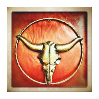 Country Western Bull Horns Wrapped Canvas Art