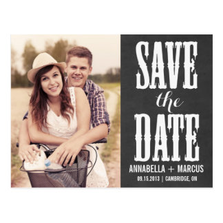 Country Western Chalkboard Save the Date Postcard