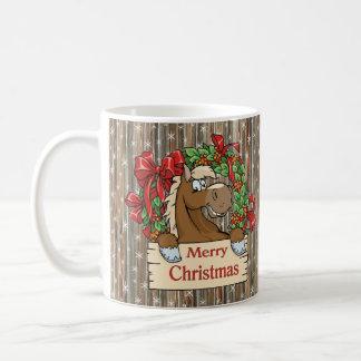 Country Western Christmas Horse Barnwood And Snow Coffee Mug