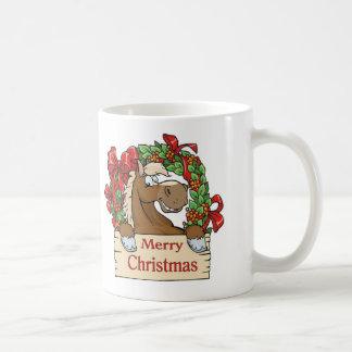 Country Western Christmas Horse With Wreath Coffee Mug