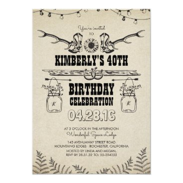 jinaiji Country Western Cowboy Boots Birthday Party Card