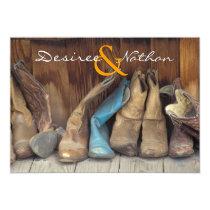 Country Western Cowboy Boots Wedding Invitation
