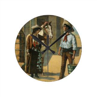 Country western cowboy cowgirl horse farm vintage round clock