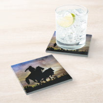 Country Western Cowboy Horse Roping a Steer Glass Coaster