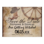 Country Western Cowboy Save the Date Postcards