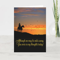 Country Western Cowboy You Are in My Thoughts Card