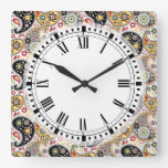 Country Western Farm Bohemian Paisley Kitchen Square Wall Clock
