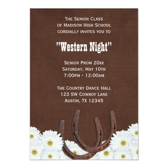 Country Western Formal Prom Party Card