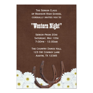 """Country Western Formal Prom Party 5"""" X 7"""" Invitation Card"""