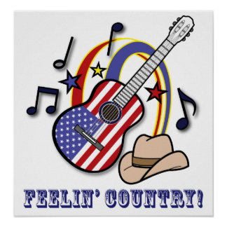 Country Western Guitar Poster