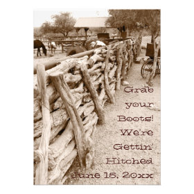 Country Western Horse Corral Wedding Invitations Custom Invitation