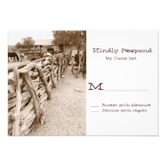 Country Western Horse Corral Wedding RSVP Cards