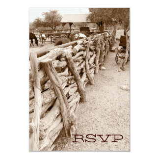 "Country Western Horse Corral Wedding RSVP Cards 3.5"" X 5"" Invitation Card"