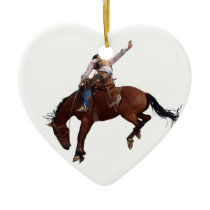 Country Western horseback Riding Rodeo Cowboy Ceramic Ornament