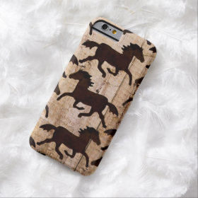 Country Western Horses Barn Wood iPhone 6 Case
