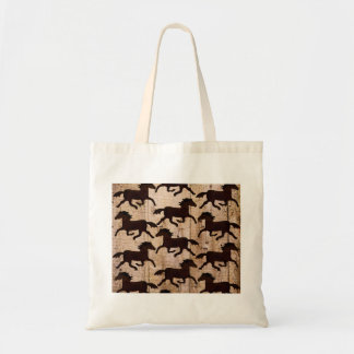 Country Western Horses on Barn Wood Cowboy Gifts Budget Tote Bag