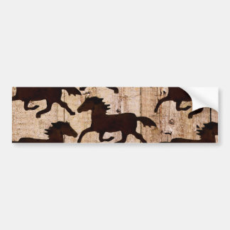 Country Western Horses on Barn Wood Cowboy Gifts Bumper Sticker