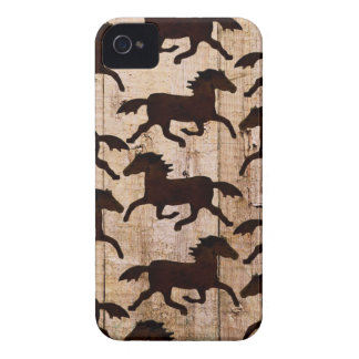 Country Western Horses on Barn Wood Cowboy Gifts Case-Mate iPhone 4 Case