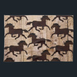 """Country Western Horses on Barn Wood Cowboy Gifts Hand Towel<br><div class=""""desc"""">Great gifts for horse lovers, featuring a rustic wrought iron die cut horse design printed on a country barn wood background. The horses and wood grain are just printed designs. Perfect as country gifts for horse lovers and cowboys. &quot;horse&quot; &quot;horses&quot; &quot;rustic country&quot; &quot;wood grain&quot; &quot;Barn wood&quot; &quot;cowboy&quot; &quot;horse lover gifts&quot;...</div>"""
