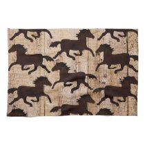Country Western Horses on Barn Wood Cowboy Gifts Hand Towel
