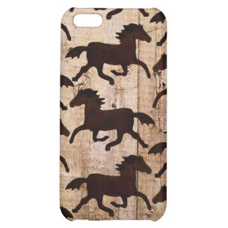 Country Western Horses on Barn Wood Cowboy Gifts Case For iPhone 5C
