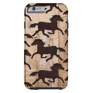 Country Western Horses on Barn Wood Cowboy Gifts iPhone 6 Case