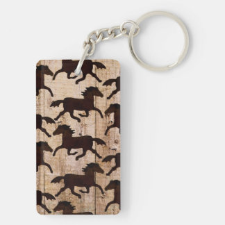 Country Western Horses on Barn Wood Cowboy Gifts Keychain