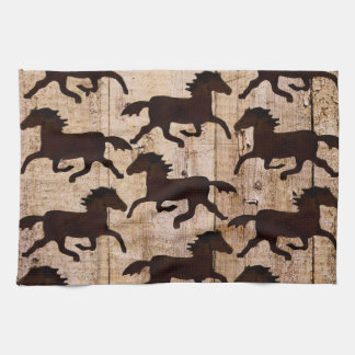 Country Western Horses on Barn Wood Cowboy Gifts Hand Towels