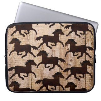 Country Western Horses on Barn Wood Cowboy Gifts Laptop Sleeve